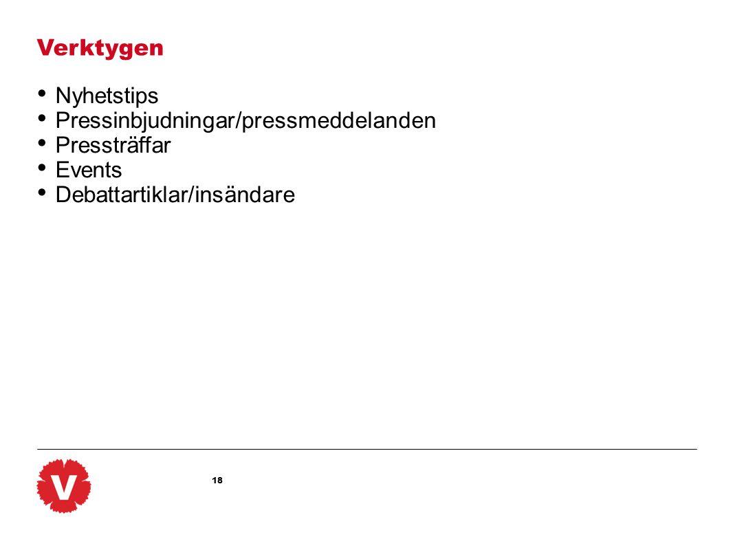 Verktygen Nyhetstips. Pressinbjudningar/pressmeddelanden.