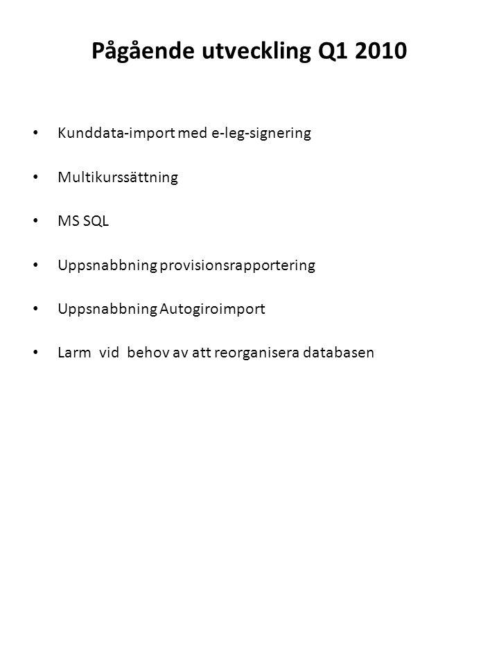 Pågående utveckling Q1 2010 Kunddata-import med e-leg-signering