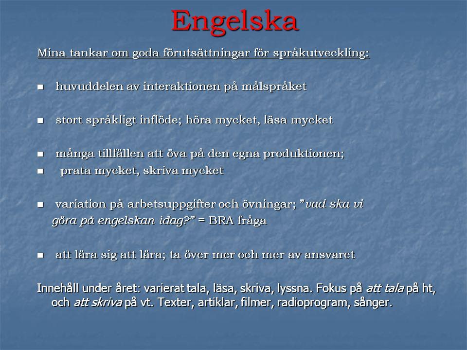 Engelska Mina tankar om goda förutsättningar för språkutveckling: