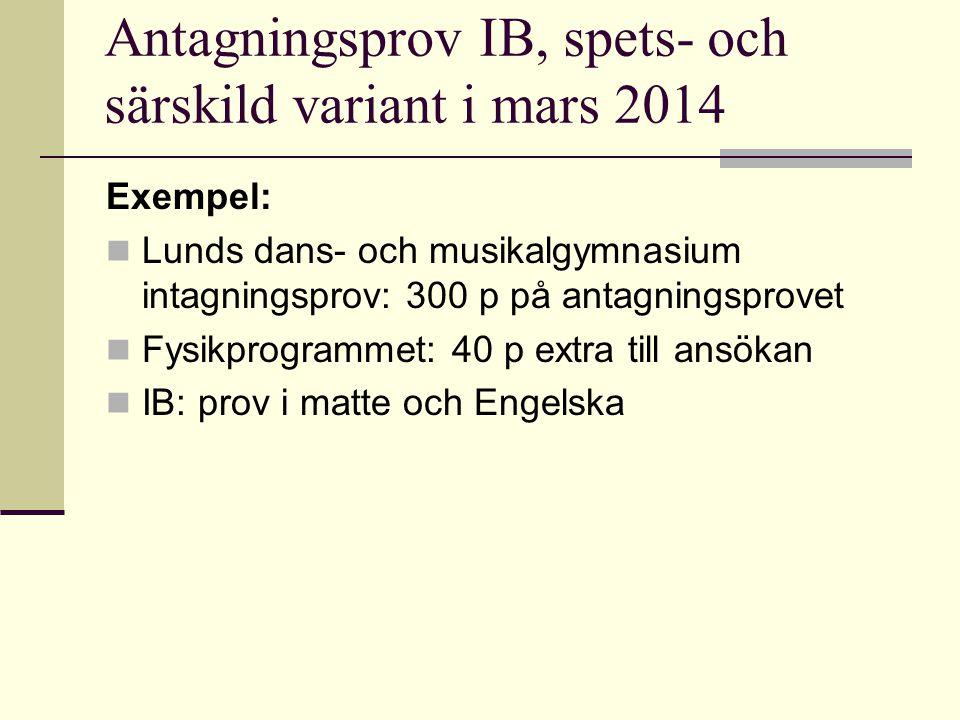 Antagningsprov IB, spets- och särskild variant i mars 2014