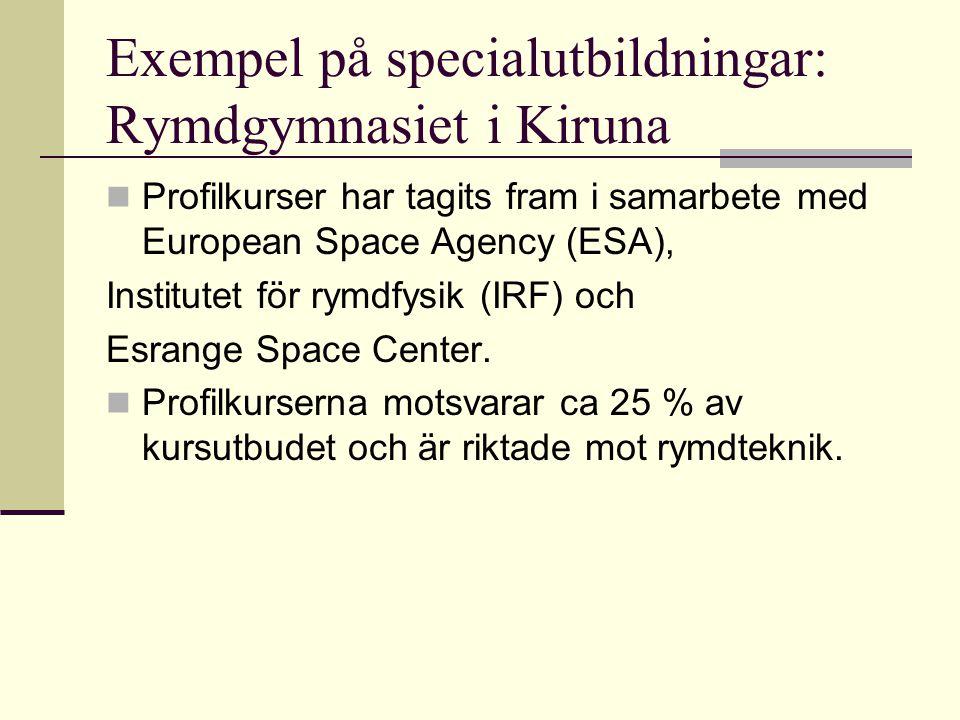 Exempel på specialutbildningar: Rymdgymnasiet i Kiruna
