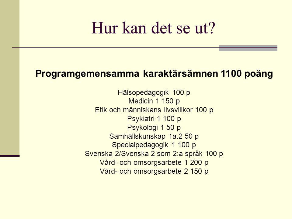 Hur kan det se ut Programgemensamma karaktärsämnen 1100 poäng