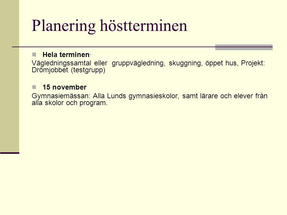 Planering höstterminen
