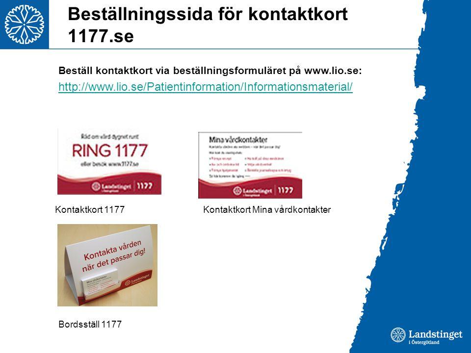 Beställningssida för kontaktkort 1177.se