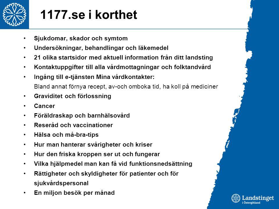 1177.se i korthet Sjukdomar, skador och symtom