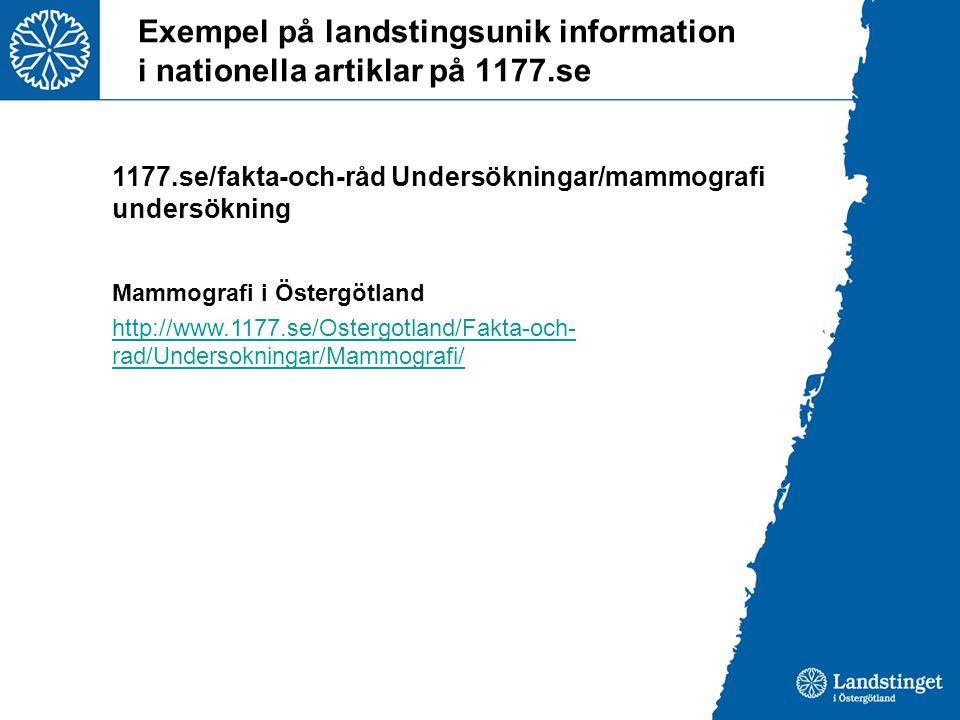 Exempel på landstingsunik information i nationella artiklar på 1177.se
