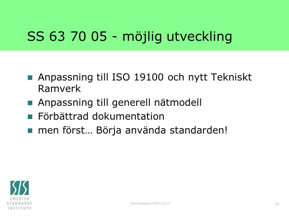 SS 63 70 05 - möjlig utveckling Anpassning till ISO 19100 och nytt Tekniskt Ramverk. Anpassning till generell nätmodell.