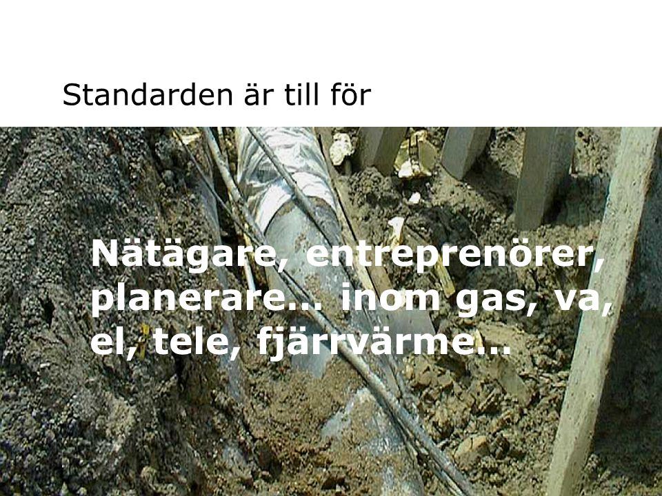 Standarden är till för Nätägare, entreprenörer, planerare… inom gas, va, el, tele, fjärrvärme… Samlingskartor 2004-10-19.