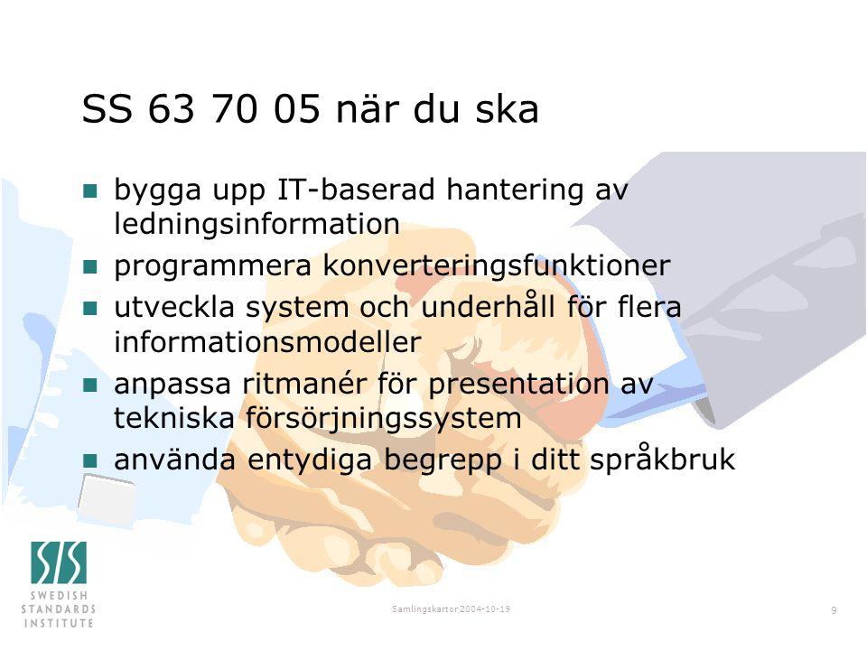 SS 63 70 05 när du ska bygga upp IT-baserad hantering av ledningsinformation. programmera konverteringsfunktioner.