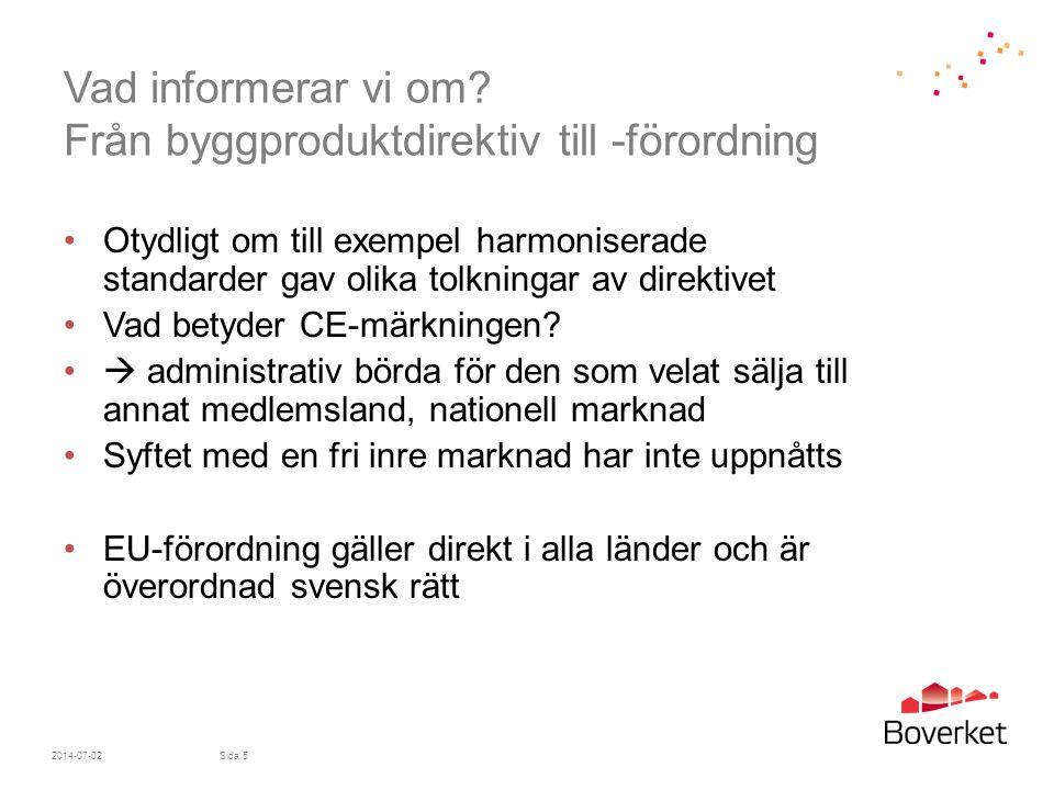 Vad informerar vi om Från byggproduktdirektiv till -förordning