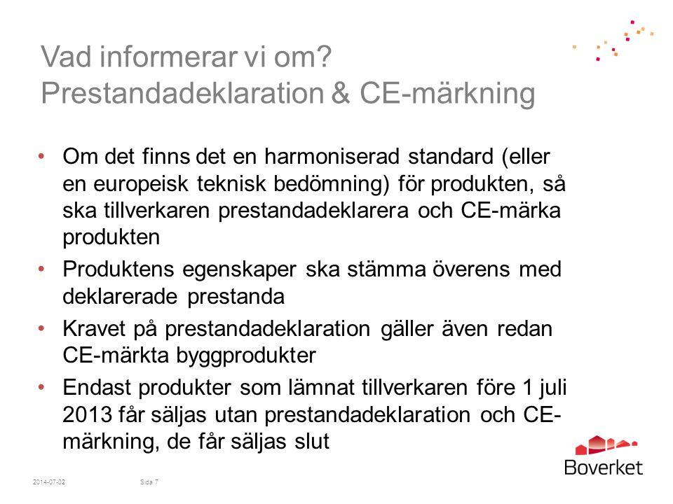 Vad informerar vi om Prestandadeklaration & CE-märkning