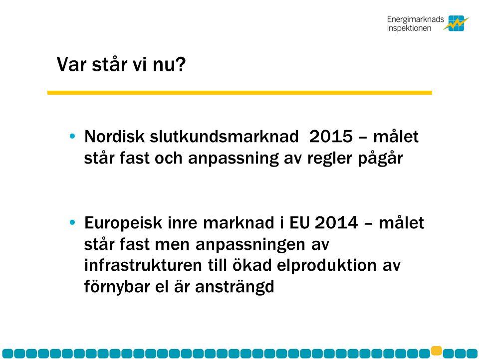 Var står vi nu Nordisk slutkundsmarknad 2015 – målet står fast och anpassning av regler pågår.