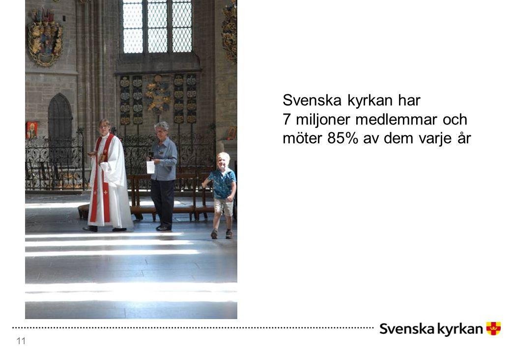 Svenska kyrkan har 7 miljoner medlemmar och möter 85% av dem varje år