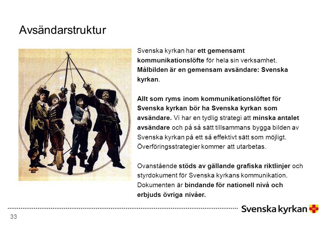 Avsändarstruktur Svenska kyrkan har ett gemensamt kommunikationslöfte för hela sin verksamhet. Målbilden är en gemensam avsändare: Svenska kyrkan.