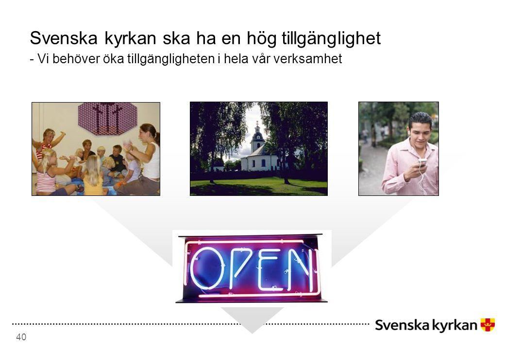 Svenska kyrkan ska ha en hög tillgänglighet - Vi behöver öka tillgängligheten i hela vår verksamhet