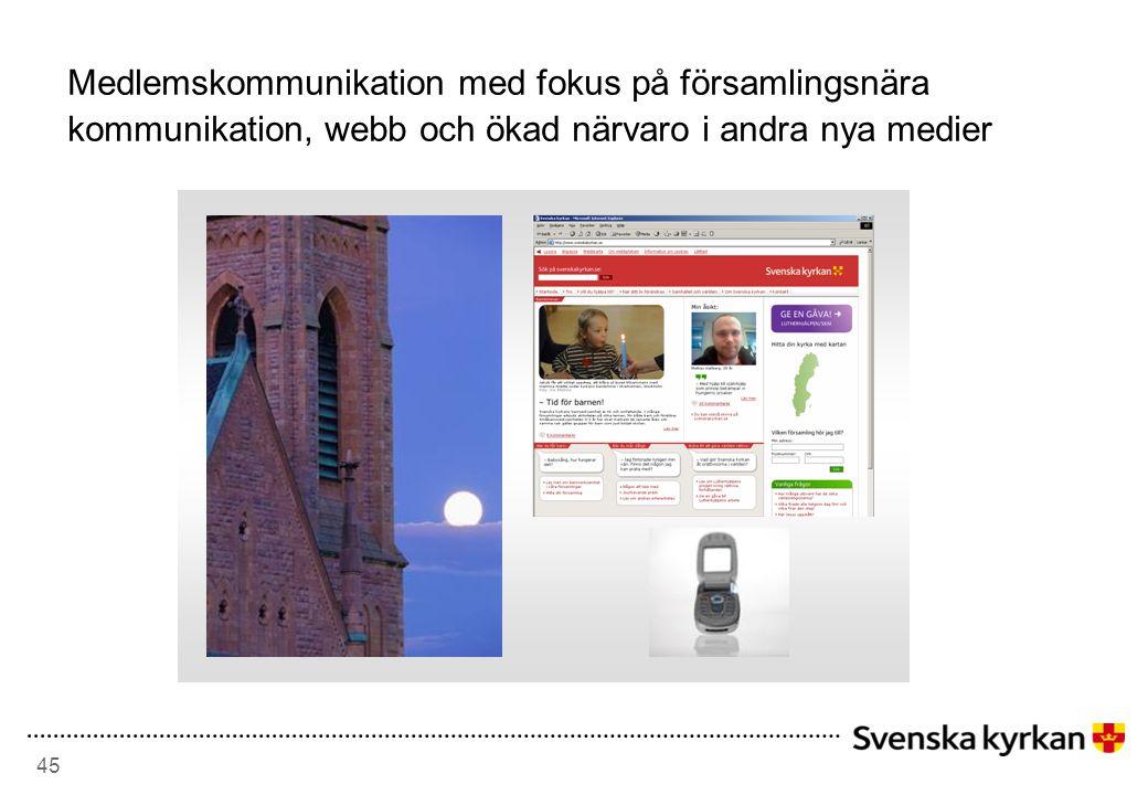 Medlemskommunikation med fokus på församlingsnära kommunikation, webb och ökad närvaro i andra nya medier