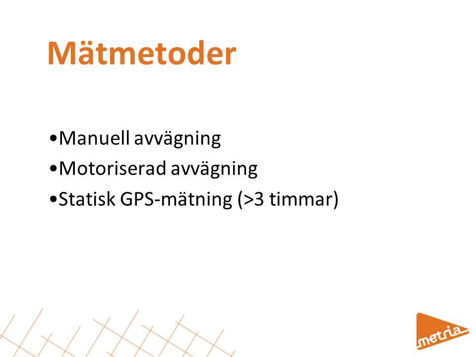 Mätmetoder Manuell avvägning Motoriserad avvägning