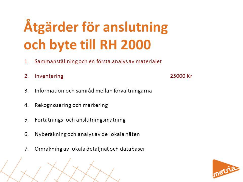 Åtgärder för anslutning och byte till RH 2000