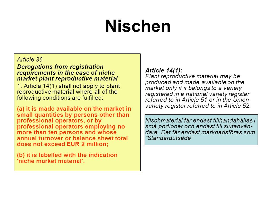 Nischen Article 36. Derogations from registration requirements in the case of niche market plant reproductive material.