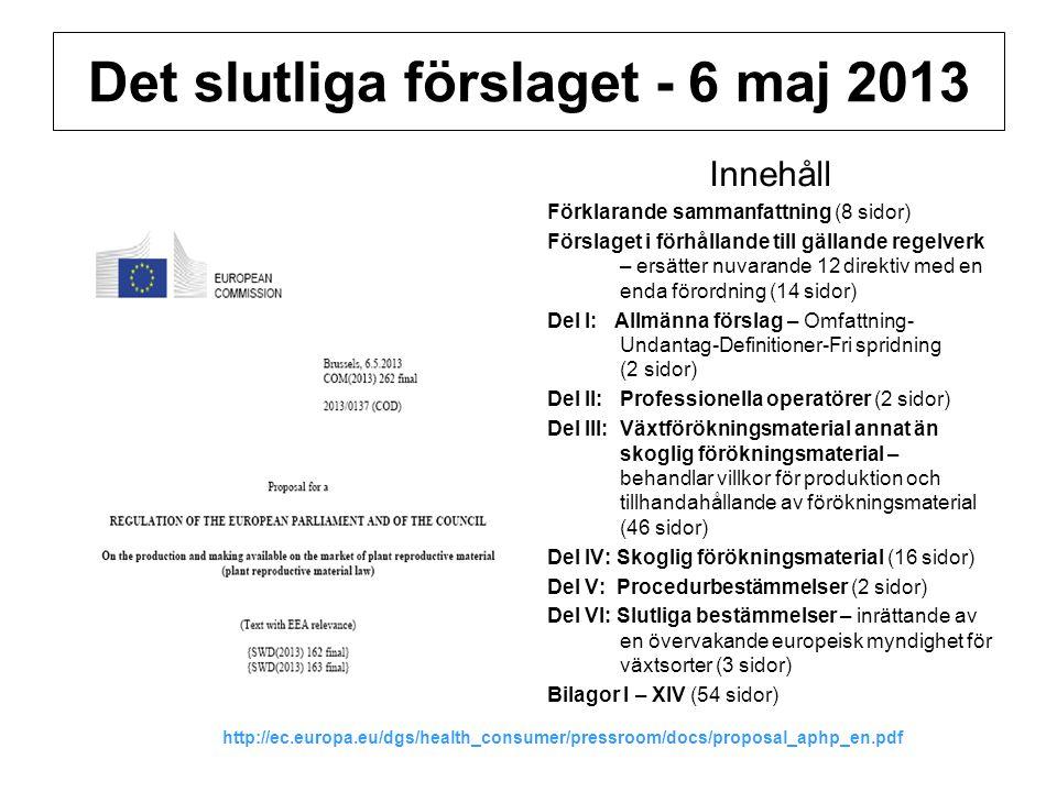 Det slutliga förslaget - 6 maj 2013