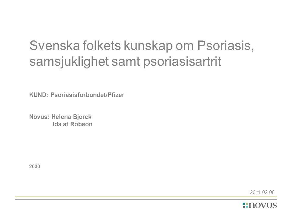 Svenska folkets kunskap om Psoriasis, samsjuklighet samt psoriasisartrit