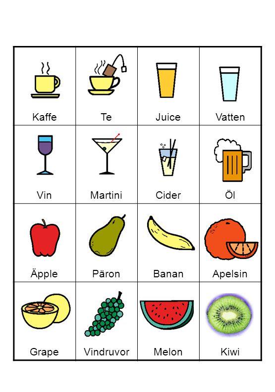 Kaffe Te Juice Vatten Vin Martini Cider Öl Äpple Päron Banan Apelsin Grape Vindruvor Melon Kiwi