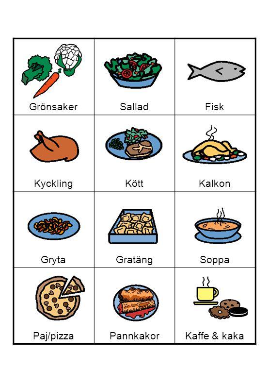 Grönsaker Sallad Fisk Kyckling Kött Kalkon Gryta Gratäng Soppa Paj/pizza Pannkakor Kaffe & kaka