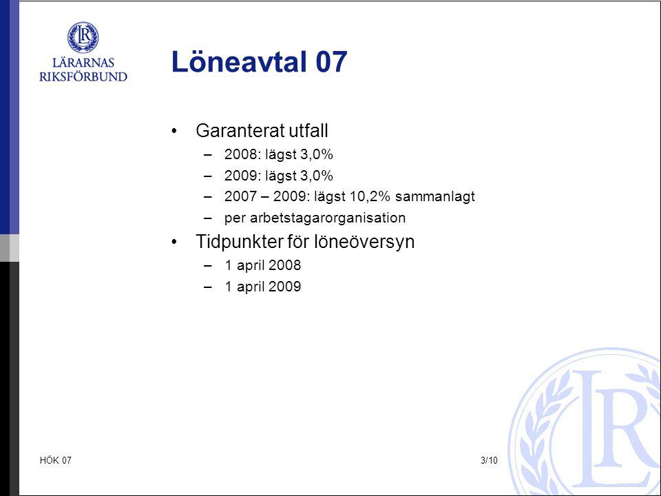 Löneavtal 07 Garanterat utfall Tidpunkter för löneöversyn