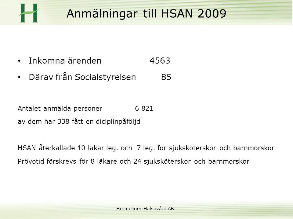 Anmälningar till HSAN 2009 Inkomna ärenden 4563