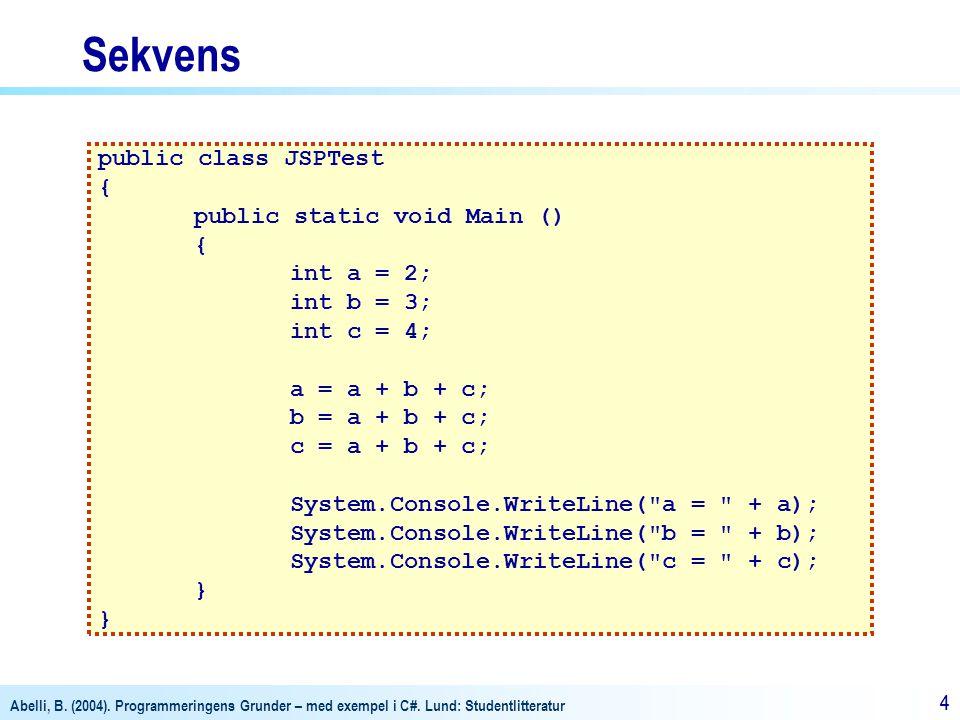 Sekvens public class JSPTest { public static void Main () int a = 2;