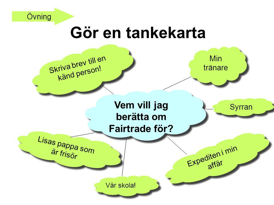 Gör en tankekarta Vem vill jag berätta om Fairtrade för Övning