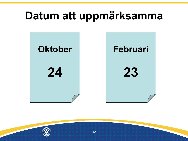 Datum att uppmärksamma