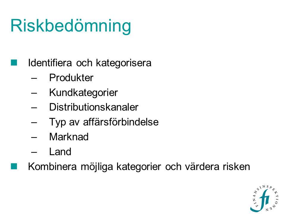 Riskbedömning Identifiera och kategorisera Produkter Kundkategorier