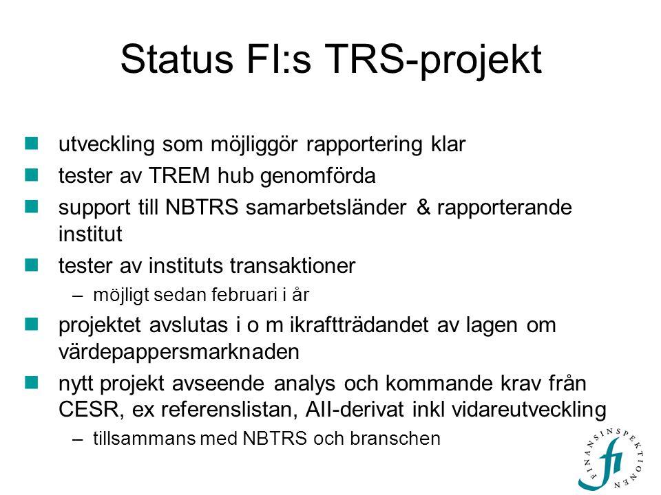 Status FI:s TRS-projekt
