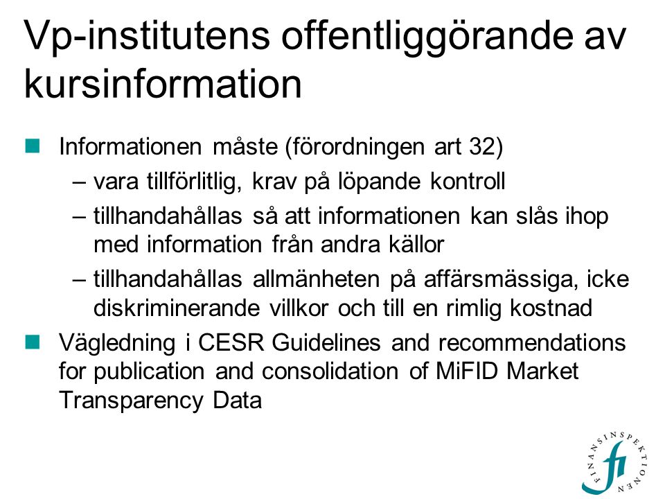 Vp-institutens offentliggörande av kursinformation