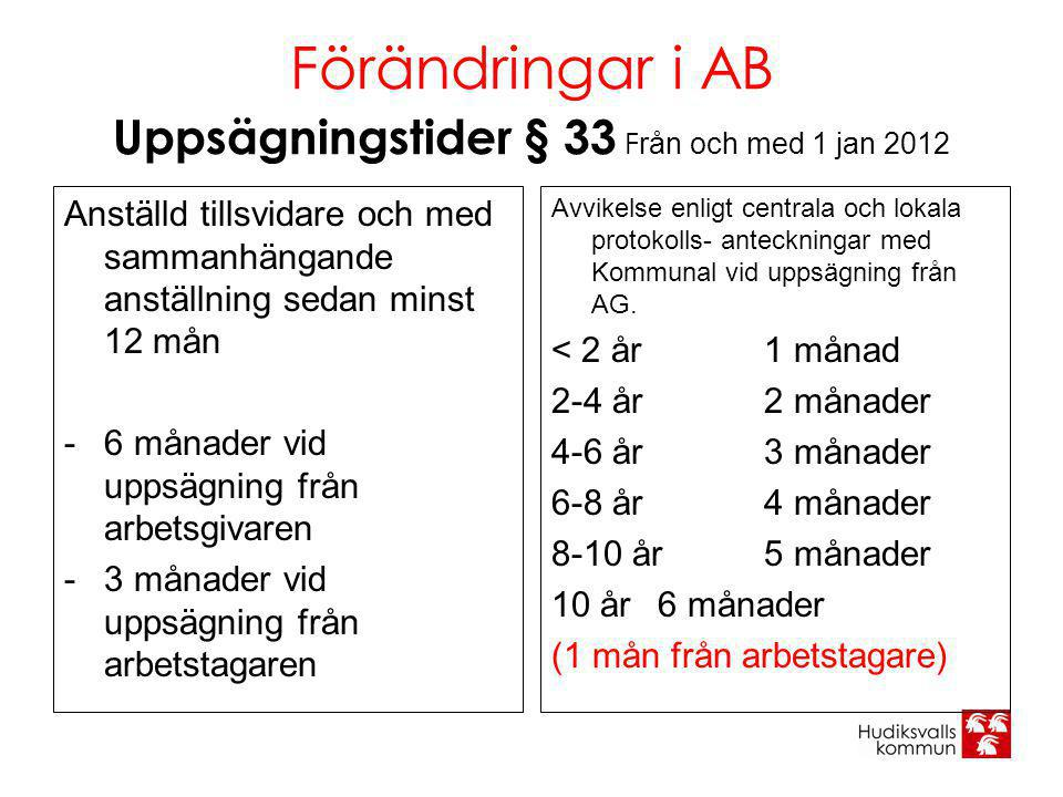 Förändringar i AB Uppsägningstider § 33 Från och med 1 jan 2012
