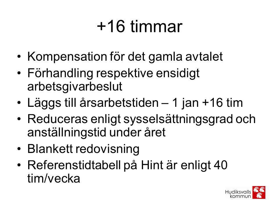 +16 timmar Kompensation för det gamla avtalet