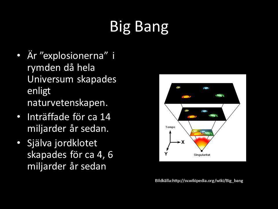 Big Bang Är explosionerna i rymden då hela Universum skapades enligt naturvetenskapen. Inträffade för ca 14 miljarder år sedan.