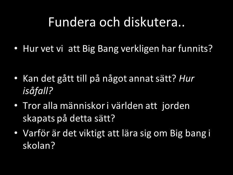 Fundera och diskutera.. Hur vet vi att Big Bang verkligen har funnits