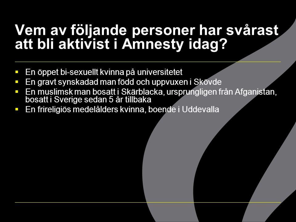 Vem av följande personer har svårast att bli aktivist i Amnesty idag