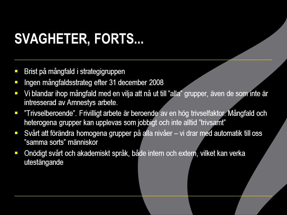 SVAGHETER, FORTS... Brist på mångfald i strategigruppen