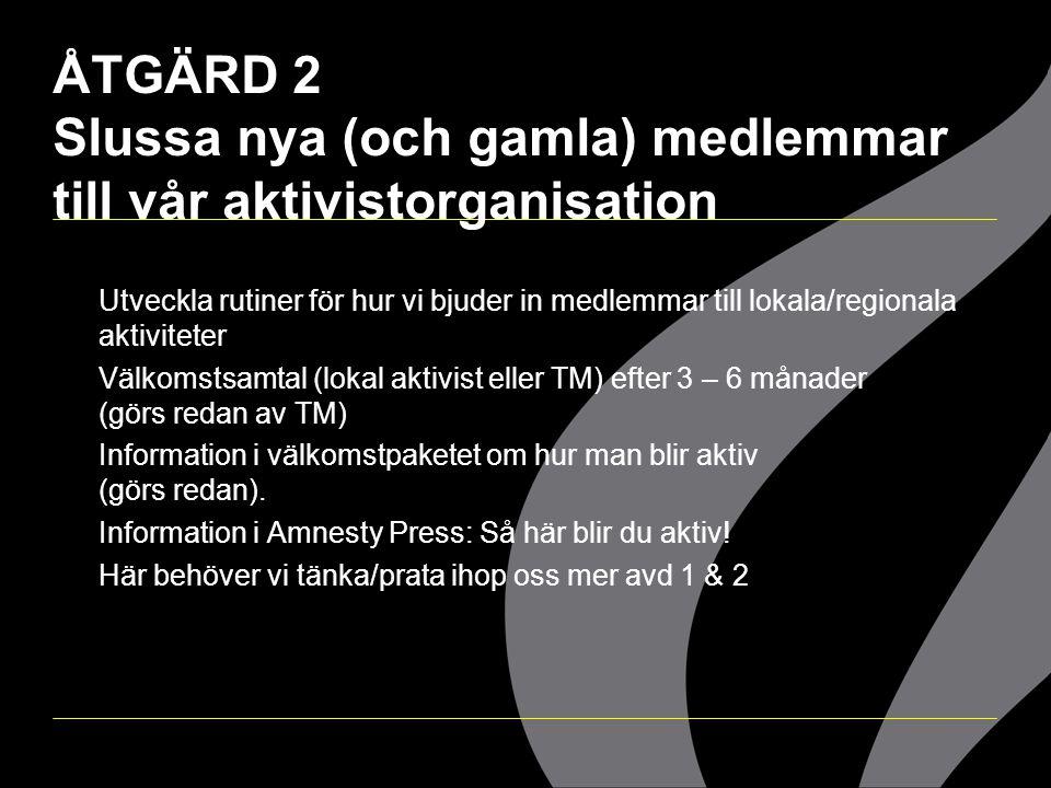 ÅTGÄRD 2 Slussa nya (och gamla) medlemmar till vår aktivistorganisation