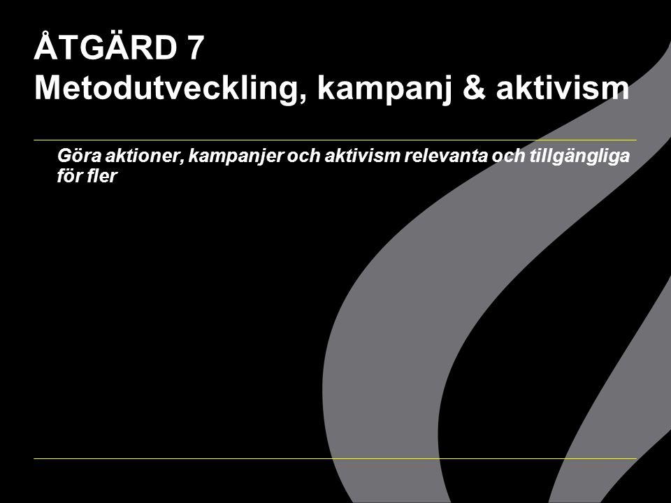 ÅTGÄRD 7 Metodutveckling, kampanj & aktivism