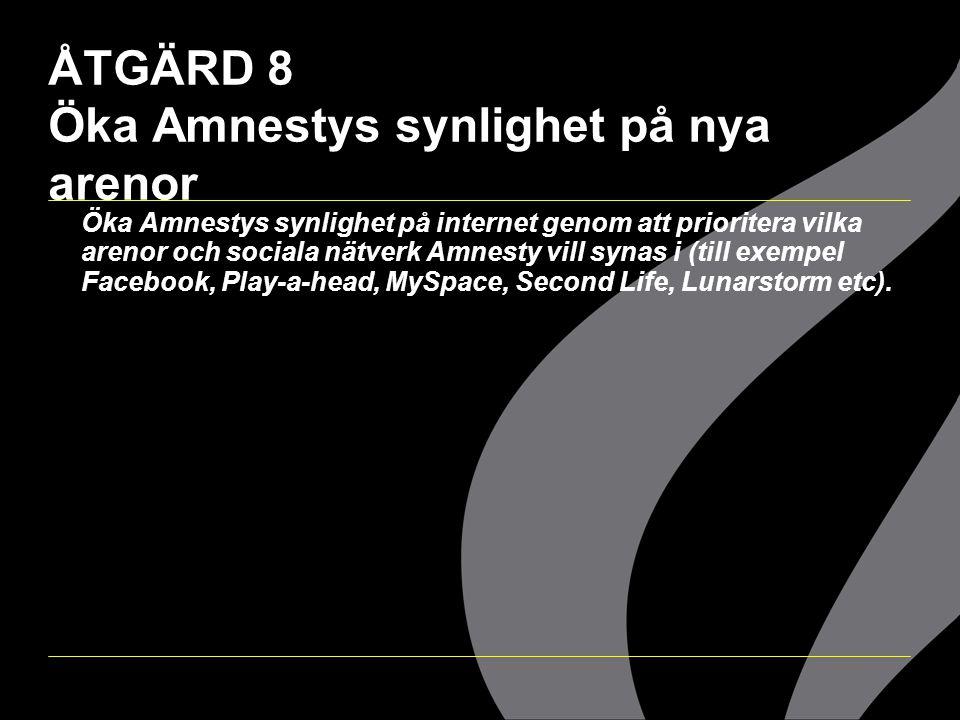ÅTGÄRD 8 Öka Amnestys synlighet på nya arenor