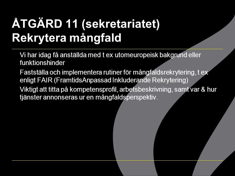 ÅTGÄRD 11 (sekretariatet) Rekrytera mångfald