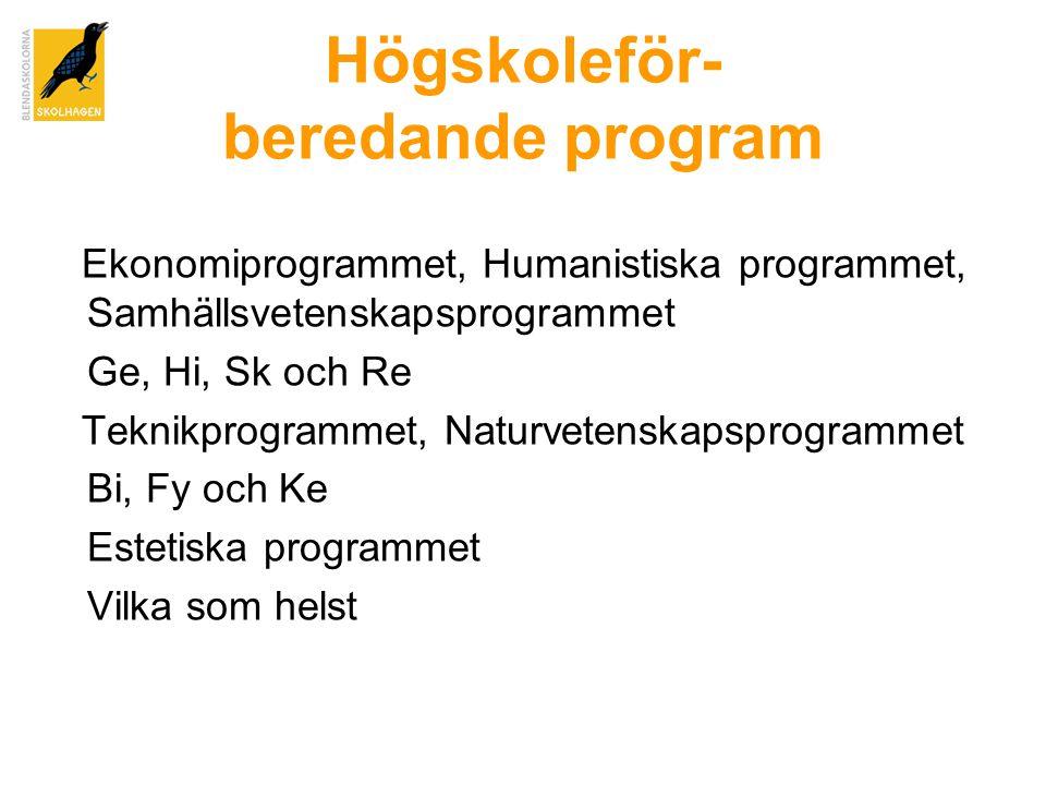 Högskoleför- beredande program