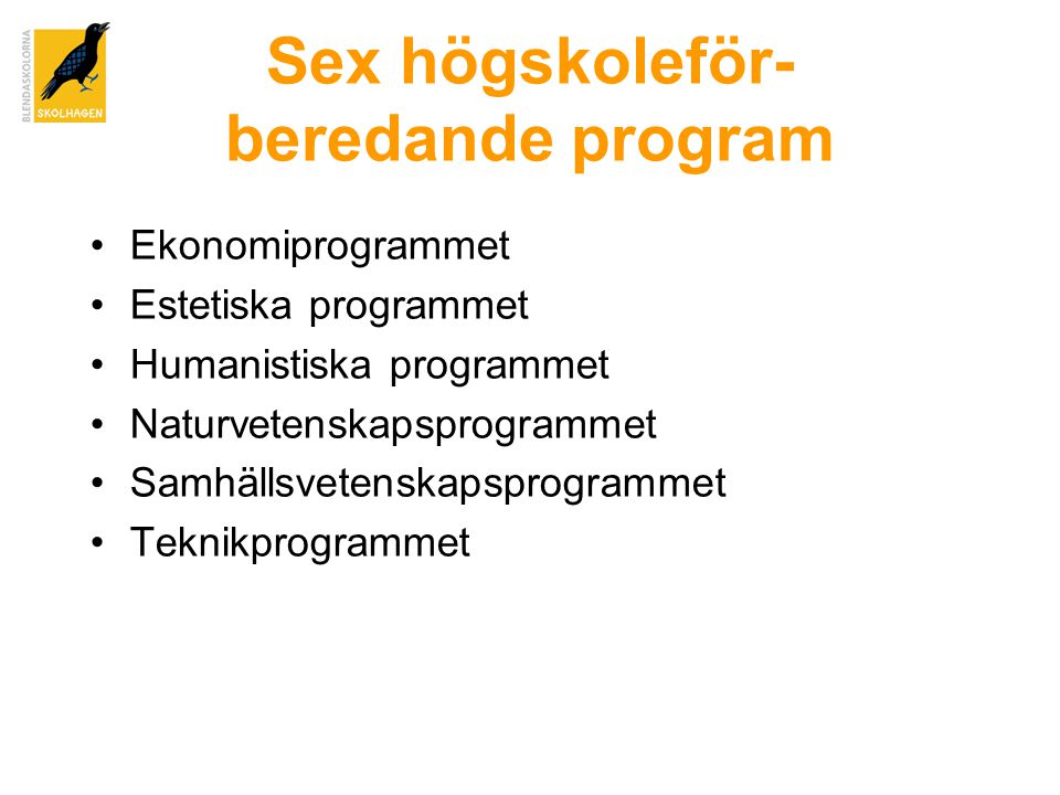 Sex högskoleför- beredande program