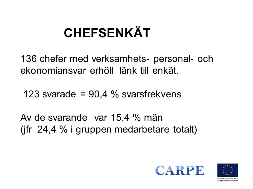 CHEFSENKÄT 136 chefer med verksamhets- personal- och ekonomiansvar erhöll länk till enkät. 123 svarade = 90,4 % svarsfrekvens.