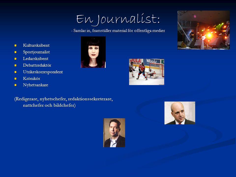 En Journalist: - Samlar in, framställer material för offentliga medier