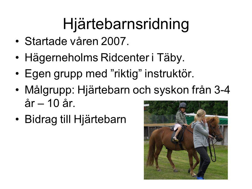 Hjärtebarnsridning Startade våren 2007. Hägerneholms Ridcenter i Täby.